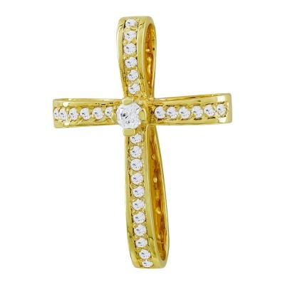 Σταυρός Βάπτισης Γυναικείος Σε Κίτρινο Χρυσό 14 Καρατίων με Πέτρες ST2822