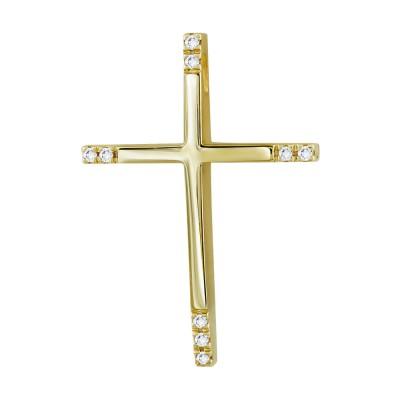 Σταυρός Βάπτισης Γυναικείος Σε Κίτρινο Χρυσό 18 Καρατίων Με Διαμάντια Brilliant ST2815